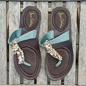 Sam Edelman Seashell Leather Thong Sandals